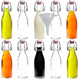 Viva Haushaltswaren - 10 x kleine Glasflasche 200 ml mit Bügelverschluss aus Porzellan zum Befüllen, als kleine Likörflasche & Saftflasche verwendbar (inkl. Trichter Ø 7 cm)