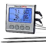 ThermoPro TP17 Digitales Grill-Thermometer Bratenthermometer Fleischthermometer Ofenthermometer mit Timer, Zwei Edelstahlsonden, Blaue Hinterbeleuchtung, Temperaturbereich bis 300°C