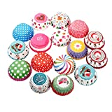 Butterme 100pack Muffin-Liner Kuchen-Zwischenlagen Papierbackförmchen Kuchen für Weihnachten Hochzeit Kuchen,Farbe radom
