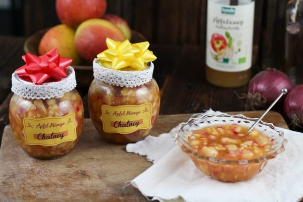 apfel mango chutney mit byodo apfelessig diy geschenk. Black Bedroom Furniture Sets. Home Design Ideas