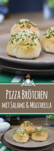 Gefüllte Pizzabrötchen mit Salami und Mozzarella aka Italian Cheese Balls
