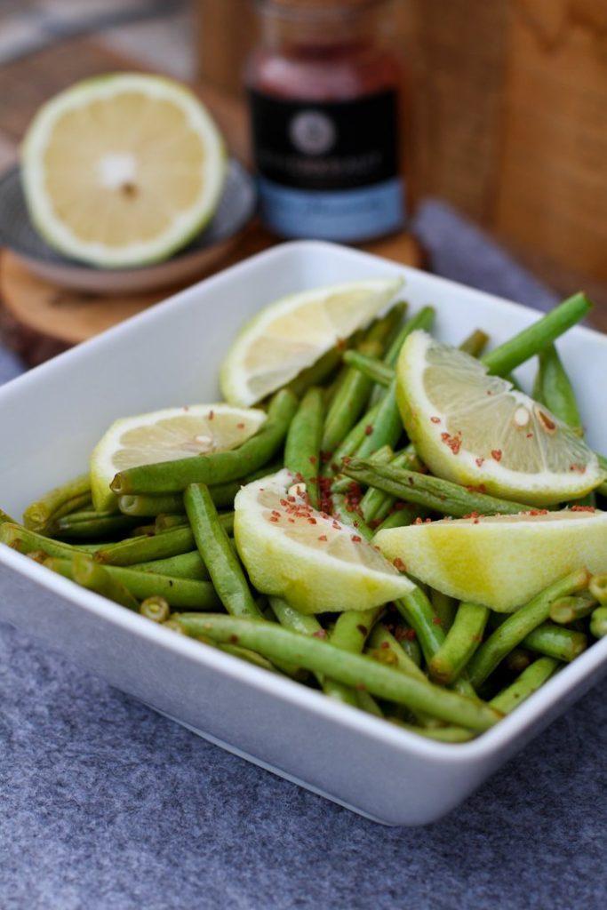 Grüne Bohnen mit Zitronenöl Rezept vom Grill