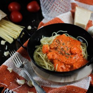 instagram Spaghetti mit gebratener Paprika Soße und Shrimps
