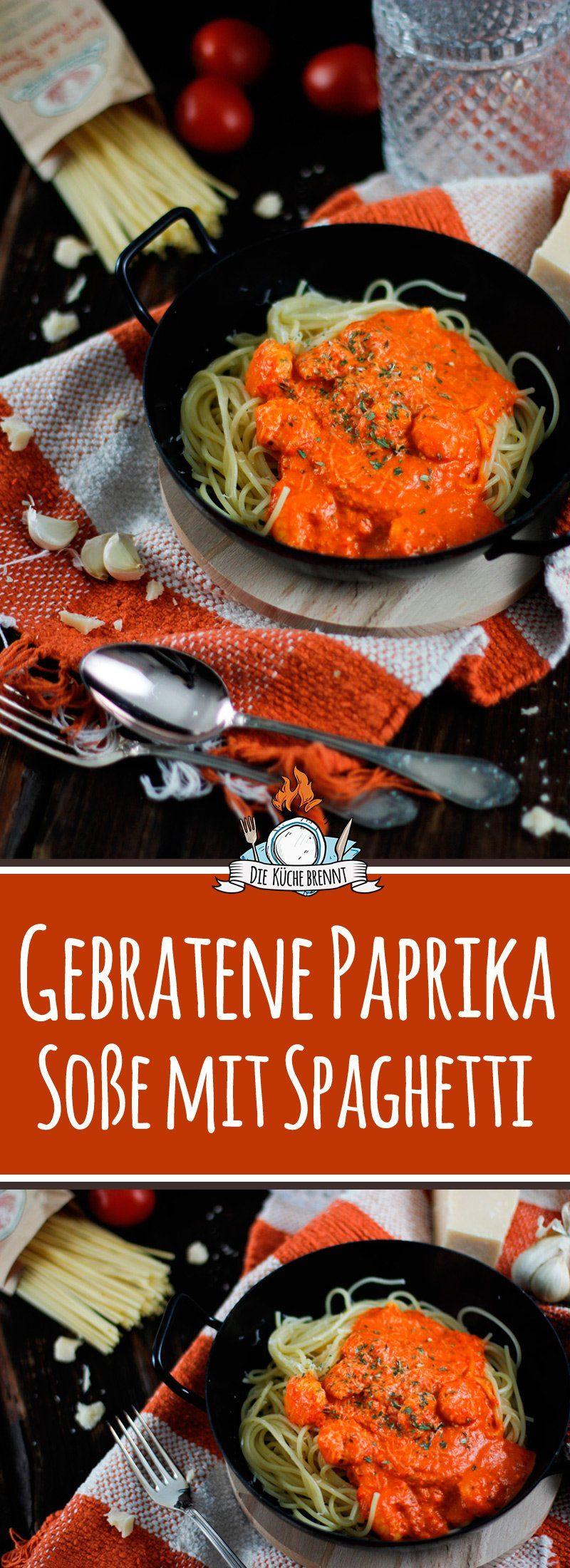 spaghetti gebratene paprika sosse shrimps pinterest