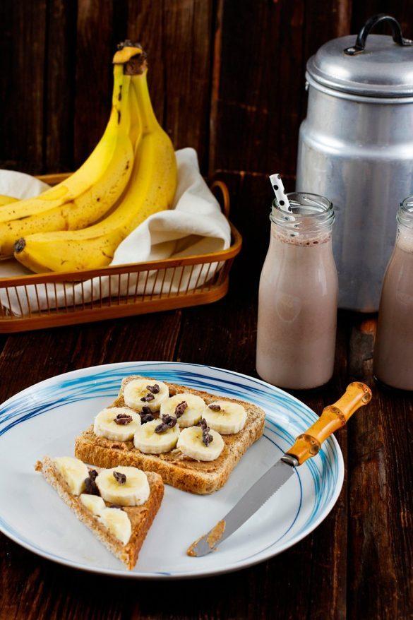 Frühstück - Erdnussbutter Bananen Toast