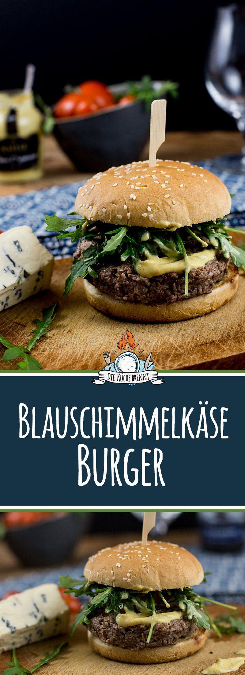 Schweine Blauschimmelkäse Burger mit Rucola