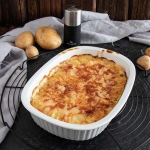 Einfaches Kartoffelgratin Rezept mit Frischkäse und Sahne