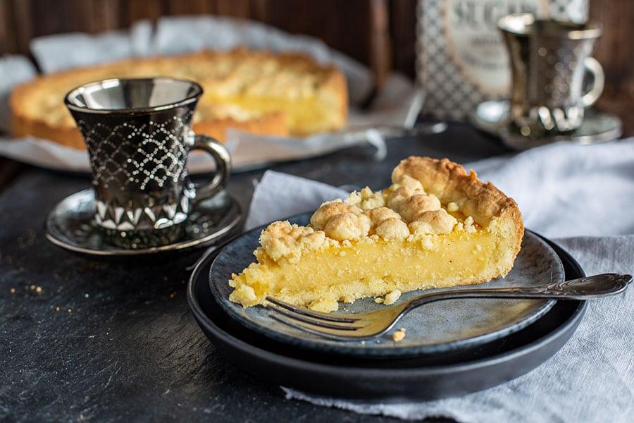Pudding Kuchen mit Streusel