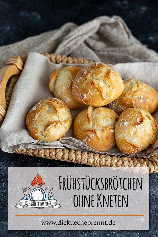 Schnelle Frühstücksbrötchen ohne kneten über Nacht - Einfaches Weizenbrötchen Rezept