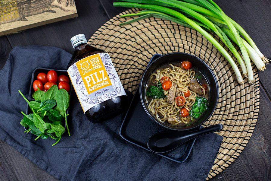 Japanische Ramen Suppe – Rezept mit Pilzen & Spinat<br>