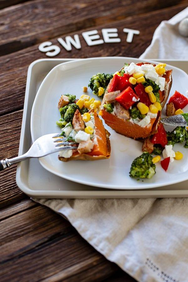 Sweetpotato Getoppt mit Gemüse