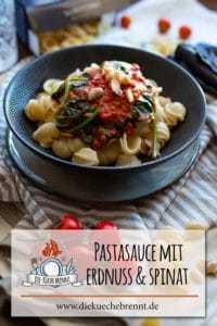 Pastasauce mit Erdnuss Spinat