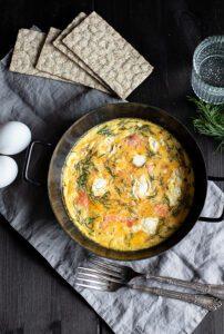 Lachs Ei Omelette aus dem Backofen